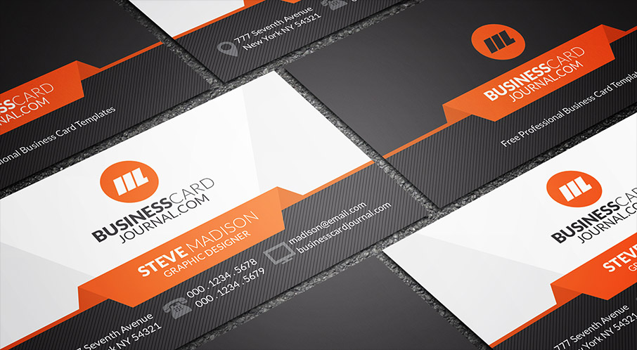 download free business card templates high tech orange business card