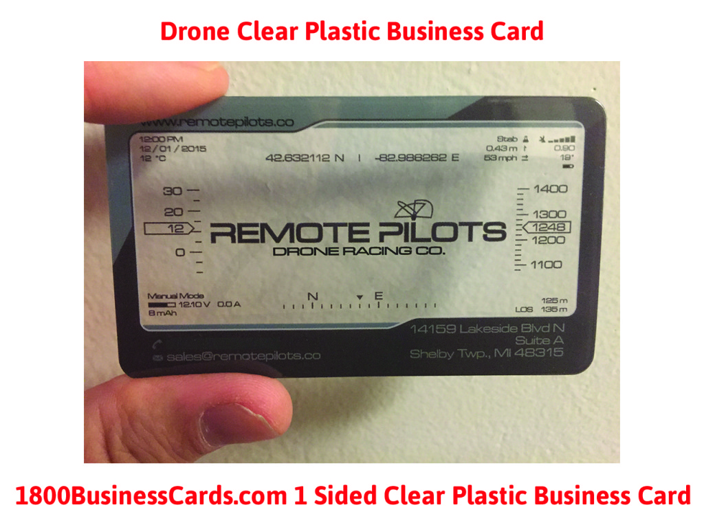 Drone Clear Plastic Business Card