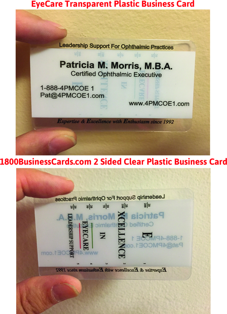 EyeCare Clear Plastic Business Card