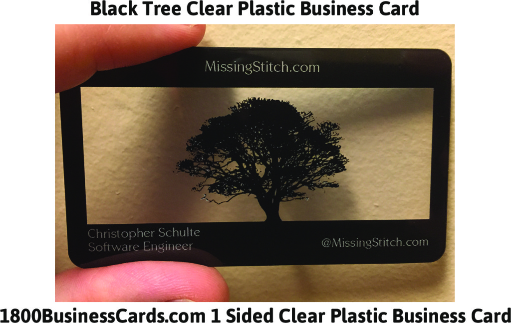 Black Tree Clear Plastic Business Card