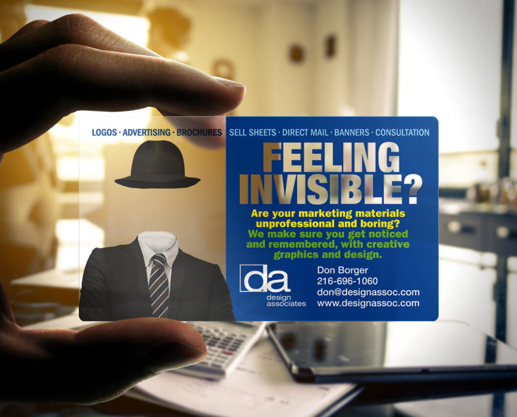Feeling Invisible Plastic Business Card